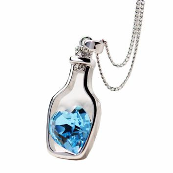 Fashion Crystal Love Drift Bottles Necklace