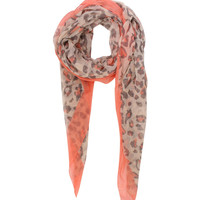 Adele Plain Border Leopard Print Scarf in Orange
