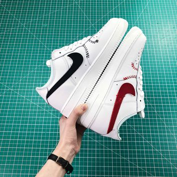 Nike Air Force 1 Low White With Red And Black Logo Shoes - Best Online Sale