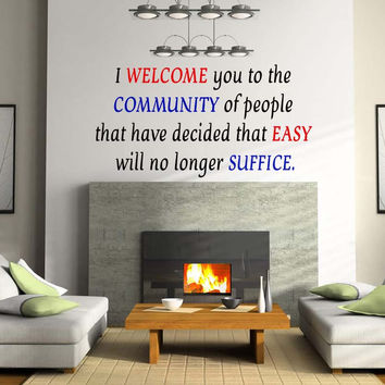 Motivational Quote Wall Vinyl Decal Sticker Easy will no longer Suffice