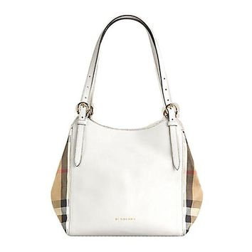 ONETOW Tote Bag Handbag Authentic Burberry Small Canter in Leather and House Check Natural Color Made in Italy