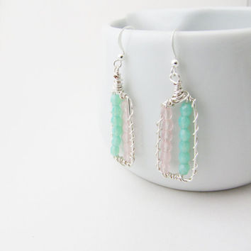 Pastel dangle earrings. Wire wrapped. Mint earrings. tender simple earrings Summer trends