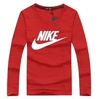 NIKE Popular Women Men Casual Letter Print Long Sleeve Round Collar Sweater Pullover Top Sweatshirt Red