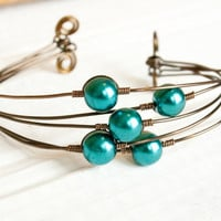 Teal and Bronze Pearl Bangle Cuff, Bridesmaid Jewelry, Wedding