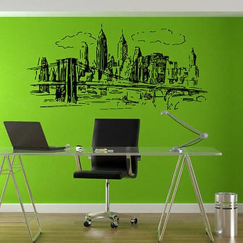 NY Skyline Twins decal New York Sticker decor Wall Decal Art Vinyl Sticker tr539