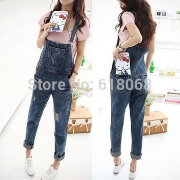 2016 New Fashion Summer Women's Loose Denim Overalls Korean Style Cowboy Straps Trousers Harem Pants Holes Denim Overalls S~XL
