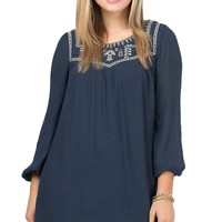 Flying Tomato Women's Slate Blue with Sand Embroidery Long Sleeve Dress