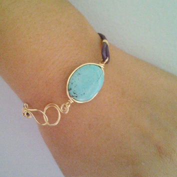 Turquoise & leather bracelet, Gold turquoise and purple leather, bangle bracelet, Assymetrical jewelry, Gemstone bracelet, Gold turquoise