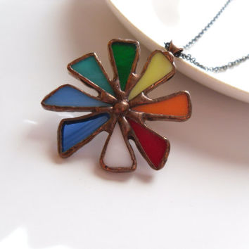 Statement necklace, woman gift, stain glass pendant, gift for wife, colorful jewelry, bohemian necklace, birthday gift,  artistic, Big bang