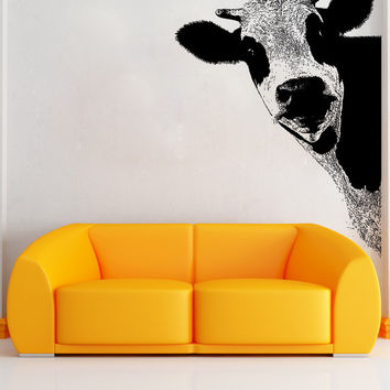 Vinyl Wall Decal Sticker Peeking Cow #5476