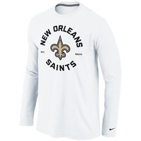 Nike New Orleans Saints Stamp It Long Sleeve T-Shirt - White