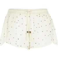 River Island Womens Cream Pacha stud broderie shorts