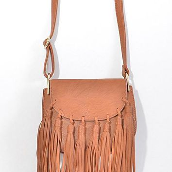 fringe cross body saddle bag