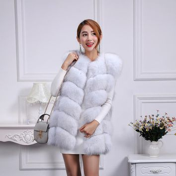 Brand winter women real fox fur vest elegant lady fashion fur coat female fashion genuine fox clothing fur clothing Customized