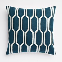 Honeycomb Crewel Pillow Cover - Blue Lagoon