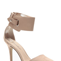 Breckelles Taupe Cuffed Pointed Toe Single Sole Pumps
