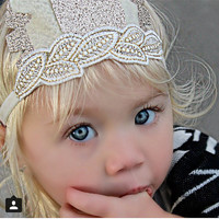 Baby Feather Crown, Feather Tiara, Feather Crown, Gold and White Crown, Gold Ivory Tiara, Gold White Headband