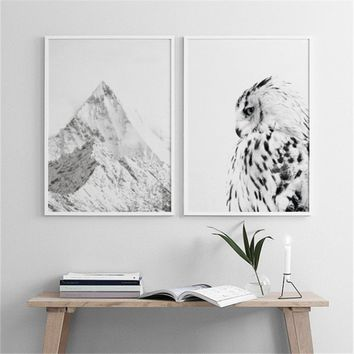 Creative WHITE OWL Canvas Art Print Wall Poster Wall Pictures Painting Wall Art for Bedroom Living Room Home Decor Frame Not Inc