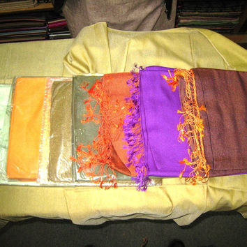 Cashmere Shawl Silk Wool Blend Double Sided Unique Nepal Patu Long Scarf Ethnic Wrap Plain Colors Indian Asian Clothing Himalayan
