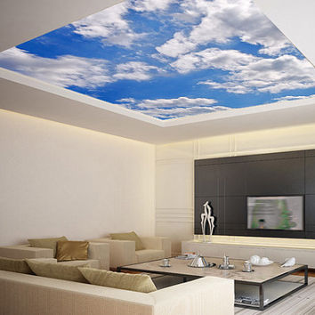 "Ceiling STICKER MURAL sky clouds cupola dome airly air decole poster 93x93""(236x236cm)"