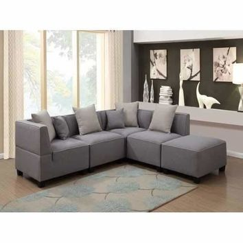 Holly Modern 5-Piece Modular Grey Tuxedo Linen Fabric L Shaped Sectional