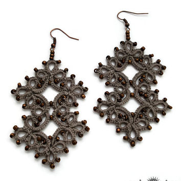 Tatted earrings with bronze glass beads-jewelry under 25-handmade earrings-grey earrings-tatting lace-gift for her-tatted jewelry