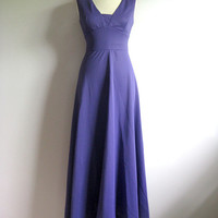 Vintage 1970s Maxi Dress Mary Hames Royal Purple Long Sleeveless Empire Waist Gown 12