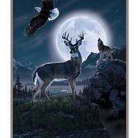 Wildlife Deer Throw Blanket Wolf & Eagle Scene Great For Sofa Bed Chair Decor
