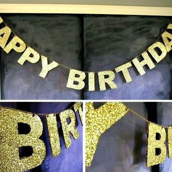 Gold Sparkly Glitter Banner Happy Birthday Banner 1st Birthday Bride to Be Wedding Showers Banner Glitter Party Photo Backdrop