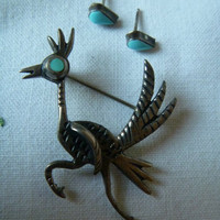 Wonderful Navajo Sterling Silver and Turquoise Roadrunner Pin and Earring Set, unmarked