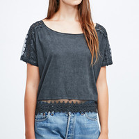 Staring at Stars Washed Lace Insert Tee in Grey - Urban Outfitters