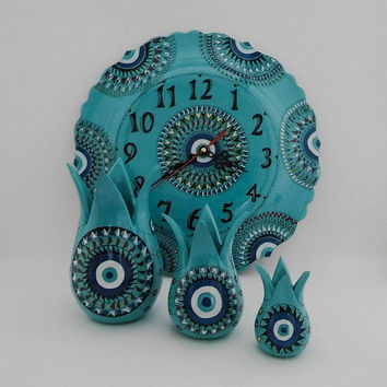 Turquoise Evil eye designed wall clock and tulip set decor , Fast Free Shipping , Mother's Day Set