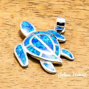 Hawaii Turtle Pendant Handmade with 925 Sterling Silver (20mm x 25mm FREE Stainless Chain Included)