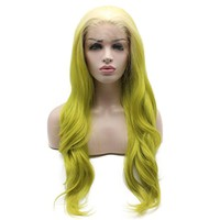 Iewig Long Wavy Half Hand Tied Synthetic Lace Front Blond Green Two Tone Wig