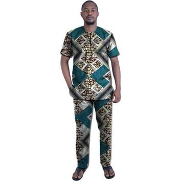 Ankara Dashiki clothes print t shirt with pant Multiple Colors