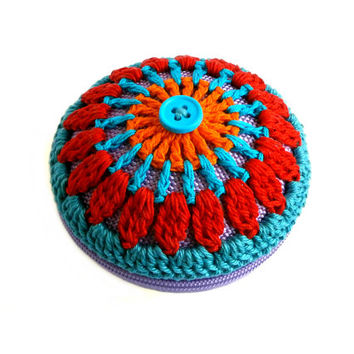 Crochet Mandala Bag - Coin Purse - Orange, Turquoise, Red, Teal, Turquoise Button, Lilac Base