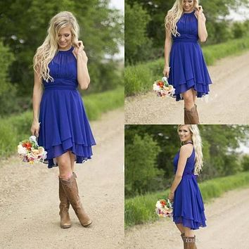New Real Photo Royal Blue Short Country Bridesmaid Dresses Cheap Above Knee Length Empire Chiffon Bridesmaids Dress  2016
