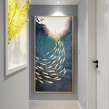 Gold fish ocean Abstract paintings on Canvas Original art Painting acrylic heavy texture extra large painting Wall Pictures cuadro abstracto