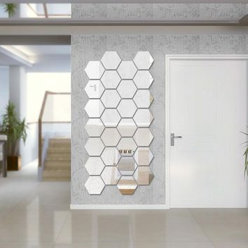 Hexagon Acrylic Mirror Wall Stickers DIY Art Wall Decor (7 pcs)