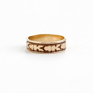 Antique 10K Rose Gold Baby Ring - Vintage Victorian Late 1800s Eternity Flower Design Fine Child's Jewelry M.B. Bryant & Co., Size 1/2