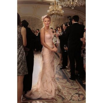 65 Times Blake Lively Gave Us Major Outfit Envy on Gossip Girl One Shoulder Blush Pink Tulle Ruffles Long Party Dress