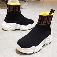 FENDI Popular Woman Breathable Elastic Socks Sneakers Running Thick Soles Shoes Coffee