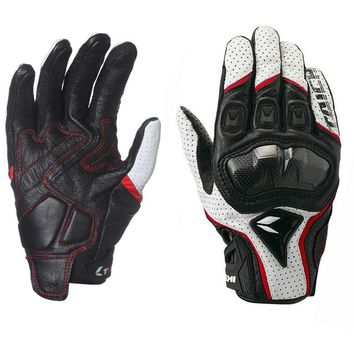 RS Design RST 390 Perforated Breathable Full Leather Mesh Racing Gloves Carbon Fiber Armed Sport Motorcycle Riding Gloves