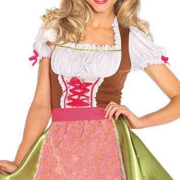 Flirty Fraulein Green White Red Satin Floral Short Puff Sleeve Lace Up Corset Apron Flare A Line Midi Dress Halloween Costume