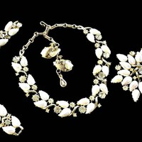 Coro Fleurette In A Paris Garden Thermoset and Rhinestone Necklace Bracelet Brooch Earrings Set AB White Rare Book Piece Signed