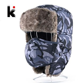 Winter Camo Bomber Hats For Men And Women Aviator Camouflage cap Trapper Thick Faux Fur Leifeng Hat With Earmuffs And Face Mask