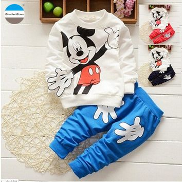 2017 spring cartoon 0 - 2 years old baby boys girls clothes set kids clothing pure cotton children's casual clothes coat + pants