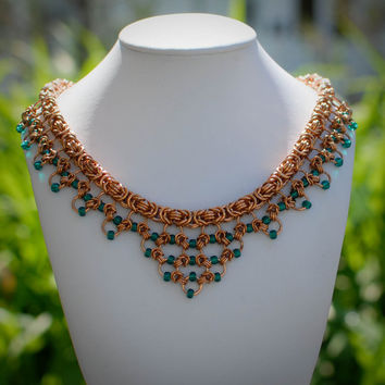 Golden Bronze Ornate Chainmaille Collar with Teal Accents - Ready To Ship