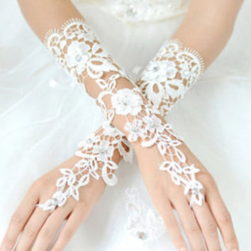 White Wedding Fingerless Gloves, Silky Satin Gloves, Bridal Lace Gloves Bridesmaid Gloves,Medium Long Gloves,Pearl Gloves NL063