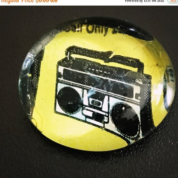 On Sale Boom Box Comic Glass Pebble Magnet/Pin